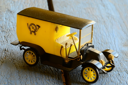 coachwork: Vintage toy car (post car, Mail Delivery Vehicle) with plastic coachwork Stock Photo
