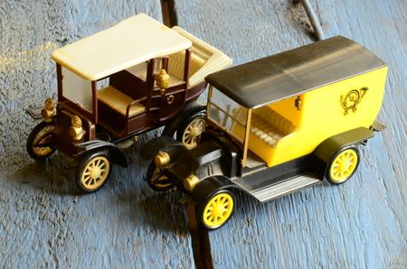 coachwork: Set of vintage toy cars with plastic coachwork