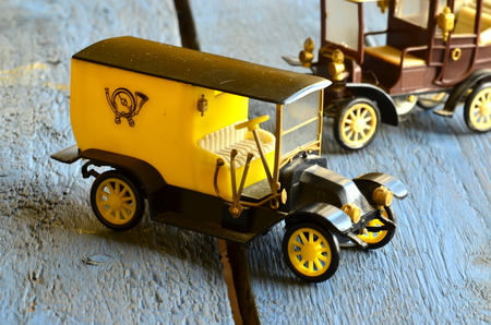 coachwork: Vintage toy cars (post car, Mail Delivery Vehicle) with plastic coachwork Stock Photo