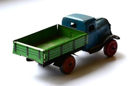 removal van: Isolated truck (lorry) toy on white background