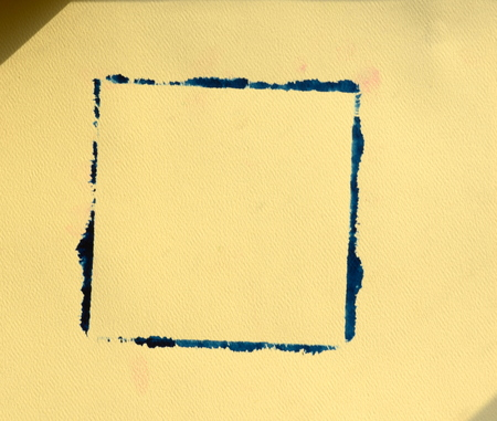 embossed paper: Hand painted old navy color frame on sandy color embossed paper with shadow effect