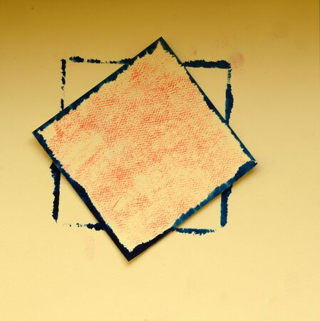 embossed paper: Hand painted old navy color frame on sandy color embossed paper Stock Photo