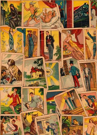 Vintage tarot cards. Fortunetelling with one of the most popular occult Tarot cards