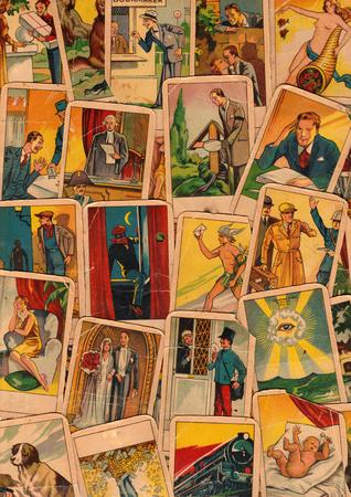 fortuneteller: Vintage tarot cards. Fortunetelling with one of the most popular occult Tarot cards