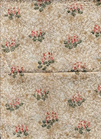 decorated: Decorated Christmas wrapping paper. Vintage shabby background.