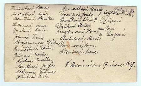 czechoslovak: HODONIN, THE CZECHOSLOVAK REPUBLIC, JUNE 17, 1927: Back of vintage photo with signatures of girls (classmates) on June 27, 1927 in Hodonin. Editorial