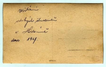 czechoslovak: HODONIN, THE CZECHOSLOVAK REPUBLIC, 1927:  Back of photo. Text in Czech - Welcome of Serbian students in Hodonin 1927, 1927. Editorial