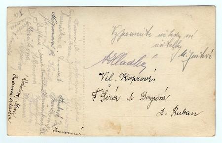 czechoslovak: HODONIN, THE CZECHOSLOVAK REPUBLIC, CIRCA 1927: Back of vintage photo with signatures, circa 1927. Editorial