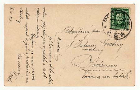 czechoslovak: THE CZECHOSLOVAK REPUBLIC, SEPTEMBER 6, 1928:  Back of vintage postcard, on September 6, 1928. Editorial