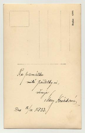 czechoslovak: THE CZECHOSLOVAK REPUBLIC, OCTOBER 15, 1932:  Back of  vintage photo with hand written dedication (in Czech), October 15,  1932. Editorial