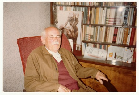 czechoslovak: THE CZECHOSLOVAK SOCIALIST REPUBLIC, CIRCA 1980s: Vintage photo shows man sits on armchair, circa 1980s.