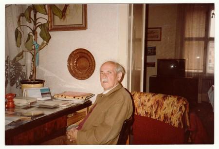 czechoslovak: THE CZECHOSLOVAK SOCIALIST REPUBLIC, CIRCA 1980s: Vintage photo shows man sits on chair, circa 1980s. Editorial