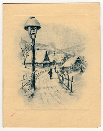 czechoslovak: THE CZECHOSLOVAK REPUBLIC - CIRCA 1947: Vintage postcards shows countryside in winter time.