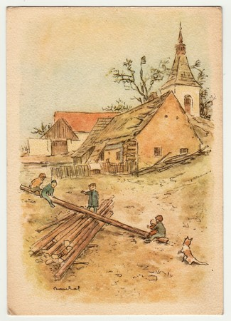 czechoslovak: THE CZECHOSLOVAK REPUBLIC - CIRCA 1940: V. Boukal - colored drawing, greeting to Easter. Vintage postcard.
