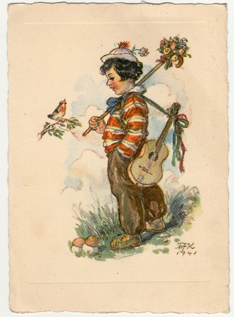 czechoslovak: THE CZECHOSLOVAK REPUBLIC - CIRCA 1940: Marie Fischerova-Kvechova - colored drawing, greeting to Easter. Vintage postcard.