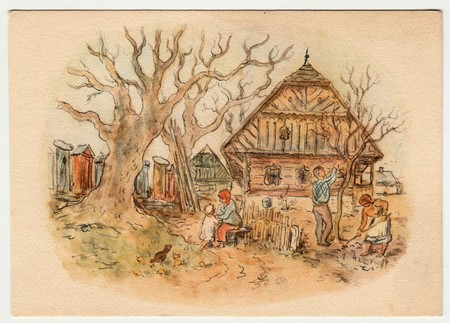 czechoslovak: THE CZECHOSLOVAK REPUBLIC - CIRCA 1940: Vlastimil Rada - colored drawing, greeting to Easter. Vintage postcard.