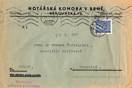 protectorate: PROTECTORATE OF BOHEMIA AND MORAVIA  - MARCH 29, 1941: A vintage used envelope and stamp. Rich stain and paper details. Can be used as background.