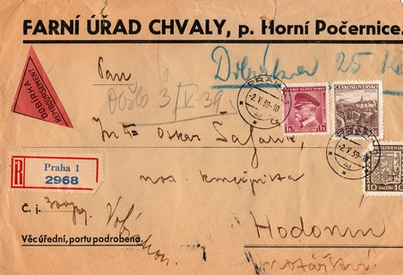 campaigning: THE CZECHOSLOVAK REPUBLIC - MAY 2, 1939: A vintage used envelope. Rich stain and paper details. Can be used as background.