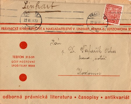 czechoslovak: THE CZECHOSLOVAK REPUBLIC - MARCH 22, 1938: A vintage used envelope and stamp. Rich stain and paper details. Can be used as background. Editorial