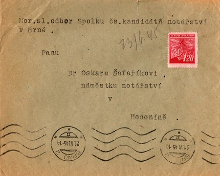 postmarked: THE CZECHOSLOVAK REPUBLIC - JUNE 10, 1945: A vintage used envelope and stamp. Rich stain and paper details. Can be used as background.