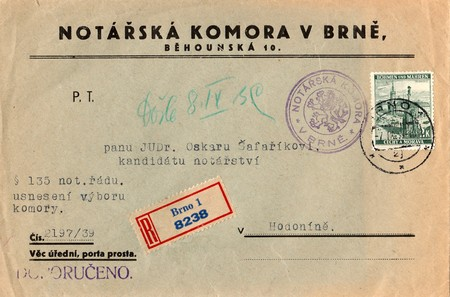 protectorate: PROTECTORATE OF BOHEMIA AND MORAVIA - SEPTEMBER 7, 1939: A vintage used envelope and stamp. Rich stain and paper details. Can be used as background.