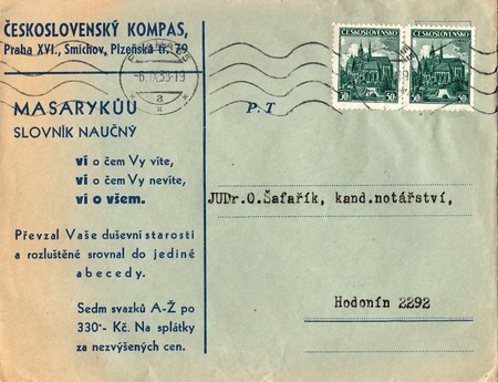 postmarked: THE CZECHOSLOVAK REPUBLIC - SEPTEMBER 6, 1938: A vintage used envelope and stamps. Rich stain and paper details. Can be used as background. Editorial