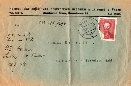 czechoslovak: THE CZECHOSLOVAK REPUBLIC - JULY 20, 1938: A vintage used envelope and stamp. Rich stain and paper details. Can be used as background.