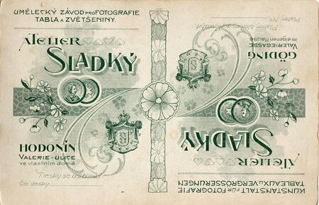 czechoslovak: THE CZECHOSLOVAK REPUBLIC - CIRCA 1930s: Back of vintage photo. Rich stain and paper details. Can be used as background.