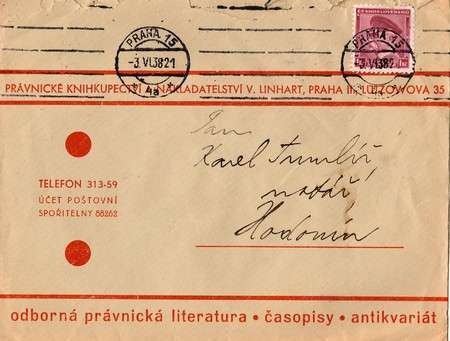 postmarked: THE CZECHOSLOVAK REPUBLIC - JUNE 3, 1938: A vintage used envelope and stamp. Rich stain and paper details. Can be used as background.