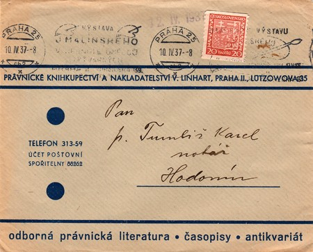 czechoslovak: THE CZECHOSLOVAK REPUBLIC - APRIL 10, 1937: A vintage used envelope and stamp. Rich stain and paper details. Can be used as background. Editorial