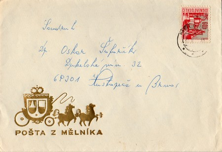 czechoslovak: THE CZECHOSLOVAK SOCIALIST REPUBLIC - CIRCA 1970s: A vintage used envelope and stamp. Rich stain and paper details. Can be used as background.