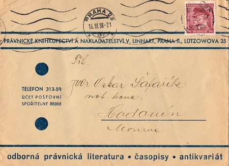 postmarked: THE CZECHOSLOVAK REPUBLIC - APRIL 10, 1937: A vintage used envelope and stamp. Rich stain and paper details. Can be used as background. Editorial