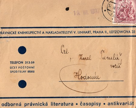 postmarked: THE CZECHOSLOVAK REPUBLIC - JULY 17, 1937: A vintage used envelope and stamp. Rich stain and paper details. Can be used as background. Editorial