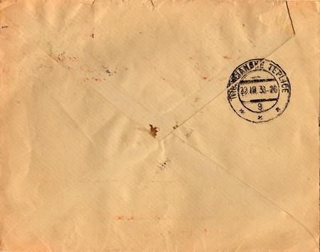 old envelope: THE CZECHOSLOVAK REPUBLIC - MARCH 22, 1938: Back of an old used envelope with Czechoslovak stamp.