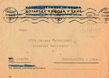 czechoslovak: THE CZECHOSLOVAK REPUBLIC - JULY 28, 1945: A vintage used envelope. Rich stain and paper details. Can be used as background.