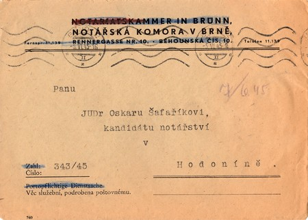 czechoslovak: THE CZECHOSLOVAK REPUBLIC - JUNE 5, 1945: A vintage used envelope. Rich stain and paper details. Can be used as background.