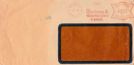 protectorate: PROTECTORATE OF BOHEMIA AND MORAVIA  - MAY 7, 1940: A vintage used envelope. Rich stain and paper details. Can be used as background.