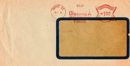 campaigning: THE CZECHOSLOVAK REPUBLIC - JULY 29, 1936: A vintage used envelope. Rich stain and paper details. Can be used as background.