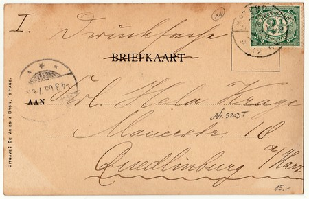 postcard back: AMSTERDAM, THE NETHERLANDS - MARCH 3, 1903: Back of a vintage photo - used postcard. Rich stain and paper details. Can be used as background. Image contains handwriting.