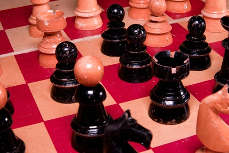 Vintage wooden chess pieces.