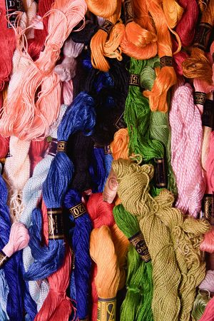 HUSTOPECE, THE CZECH REPUBLIC - FEBRUARY 26, 2017: Photo of set embroidery threads (floss). Selective focus. Image can be used as background. Colorful cotton yarns.