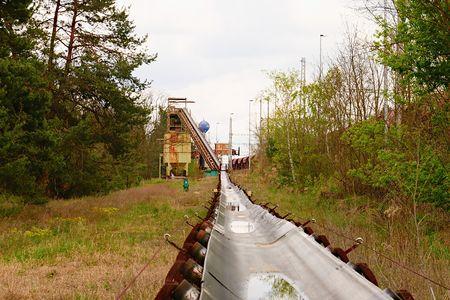 Industrial conveyor belt. Construction industry.