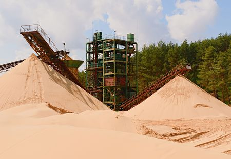 mine site: Quarry aggregate with conveyor belt. Construction industry. Horizontal  photo.