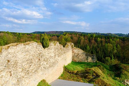 european: Ruins of fortification (bulwark). Medieval rampart.