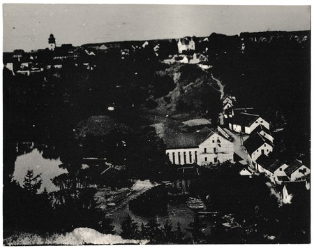 snapshots: THE CZECHOSLOVAK SOCIALIST REPUBLIC - CIRCA 1960s: Retro photo shows view on village. Black & white vintage photography