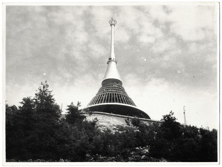 THE CZECHOSLOVAK SOCIALIST REPUBLIC - CIRCA 1960s: Retro photo shows view on Jested. Jested mount and broadcaster near Liberec, Ore mountains, Czech Republic. Black & white vintage photography Editorial