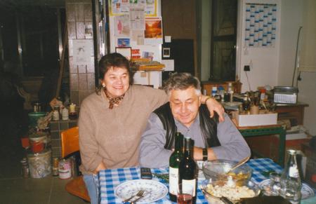 granddad: THE CZECHOSLOVAK SOCIALIST REPUBLIC - CIRCA 1980:  Retro photo shows elderly couple during rural party. Vintage color photography.