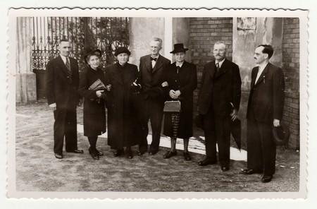 HODONIN, THE CZECHOSLOVAK REPUBLIC, CIRCA 1940:  A group of people, circa 1940. Editorial