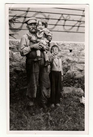 grandkids: HODONIN, THE CZECHOSLOVAK REPUBLIC, CIRCA 1941: The small children with their grandfather, circa 1941.