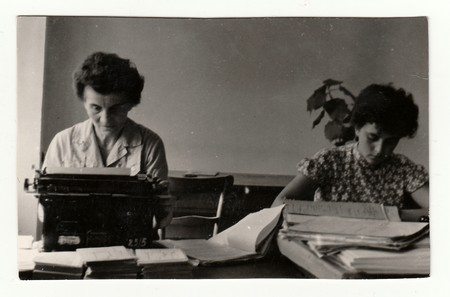 BRECLAV, THE CZECHOSLOVAK REPUBLIC, CIRCA 1955: Women in office, circa 1955. Editorial